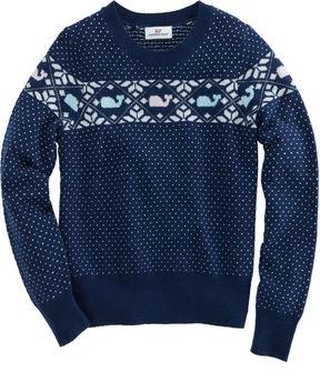Vineyard Vines Girls Shimmer Whale Isle Sweater