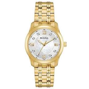 Bulova Ladies Gold Tone Stainless Steel and Diamond Watch with a Mother of Pearl Dial