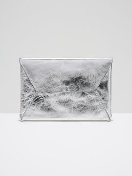 The Teatro Leather Clutch in Silver