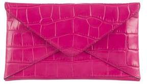 Michael Kors Embossed Leather Envelope Clutch - PINK - STYLE