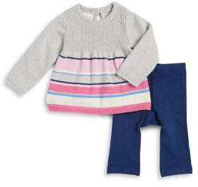 Cuddl Duds Baby Girl's Two-Piece Striped Top and Pants Set