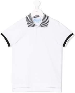 Lanvin Enfant check collar polo shirt