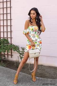 Fruit & Flower Off-the-Shoulder Mini Dress