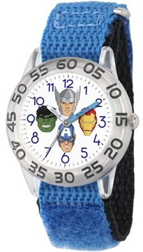 Marvel Marvel's Avengers: Captain America, Hulk, Tony Stark and Thor Boys' Clear Plastic Time Teacher Watch, Blue Hook and Loop Nylon Strap with Black Backing