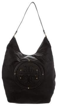 Tory Burch Leather-Trimmed Nylon Hobo