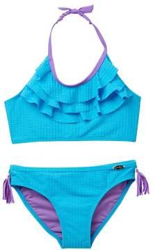 Jessica Simpson Seersucker Ruffle Bikini (Big Girls)