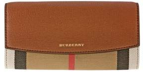Burberry House Check and Leather Continental Wallet - Tan - TAN GLD HRDWRE - STYLE