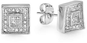 Ice Cubic Zirconia White Platinum-Plated Men's Stud Earrings