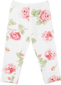 MonnaLisa Roses Print Cotton Jersey Leggings