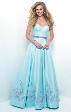 Blush Lingerie Strapless Beaded Flower Detail Long Dress 7110