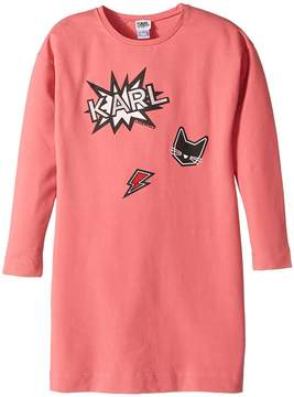 Karl Lagerfeld Long Sleeve Sweatdress with Printed Graphics Girl's Dress