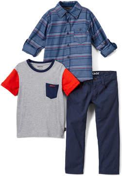 DKNY Dress Blues Bridge Button-Up Set - Infant, Toddler & Boys