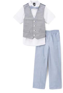 Sean John Peacoat Gray Herringbone Three-Piece Suit - Boys