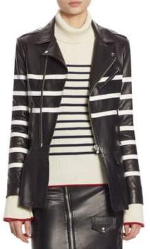 Each X Other Striped Leather Biker Jacket
