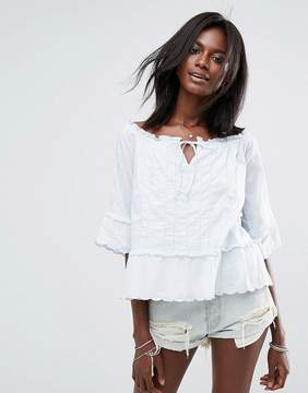 Abercrombie & Fitch Off The Shoulder Peasant Top With Cuff Detail