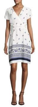 Collective Concepts Drape-Front Floral-Print Dress