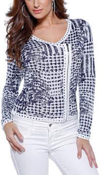 Belldini White & Navy Geometric Asymmetrical Jacket - Women