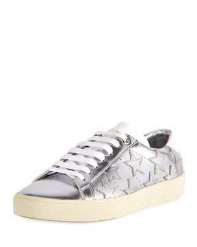 Saint Laurent Court Classic Star Low-Top Sneakers, Silver