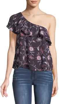 Astr One-Shoulder Floral Blouse