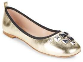 Marc Jacobs Studded Metallic Leather Ballet Flats