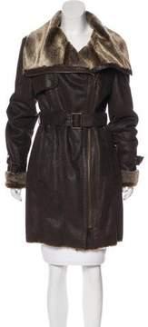 Andrew Marc Faux Fur Knee-Length Coat