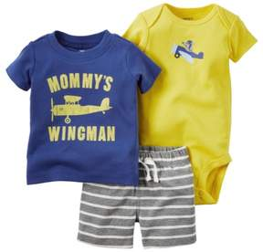 Carter's Baby Clothing Outfit Boys 3-Piece Bodysuit & Shorts Set Mommy's Wingman Yellow NB