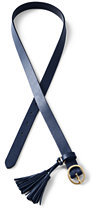 Lands' End Women's Leather Tassel Belt-Navy