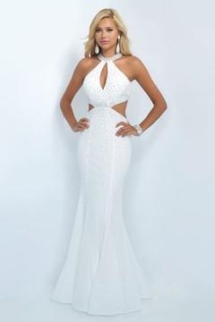 Blush Lingerie Crystal Embellished High Neck Mermaid Dress 11034