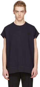 Alexander McQueen Blue Skull Cut-Off T-Shirt