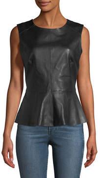 Neiman Marcus Leather Collection Sleeveless Leather Peplum Top