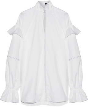 Ellery Shayne Ruffle-trimmed Embroidered Cotton-poplin Top - White