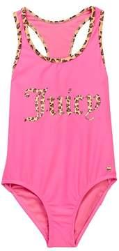 Juicy Couture Black Label One-Piece Racerback Swimsuit (Big Girls)