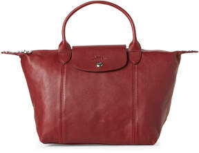 Longchamp Red Le Pliage Cuir Small Satchel