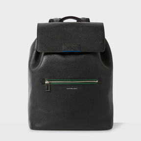 Paul Smith Men's Black 'Cycle Stripe' Detail Flap Backpack