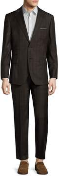 English Laundry Men's Wool Plaid Peak Lapel Suit