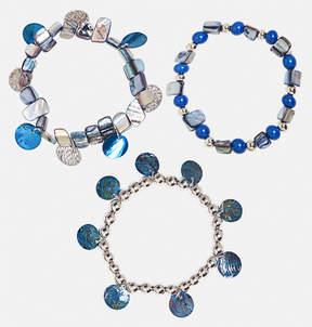 Avenue Blue Shell Stretch Bracelet Set
