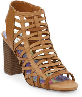 Madden-Girl Cognac Raaye Caged Block Heel Sandals