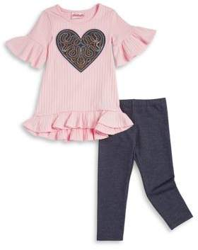 Flapdoodles Little Girl's Two-Piece Graphic Top and Stretch Pants Set