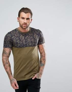 New Look Palm Print Block T-Shirt In Khaki