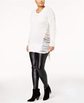 Planet Gold Trendy Plus Size Ripped High-Low Sweater