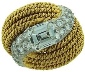 David Webb Diamond Platinum 18k Yellow Gold Vintage Ring