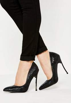 Missguided Black Curve Metal Heel Pointed Pumps