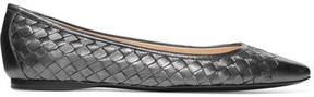 Bottega Veneta Metallic Intrecciato Leather Ballet Flats - Dark gray