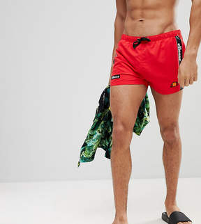 Ellesse Swim Shorts With Taping In Red