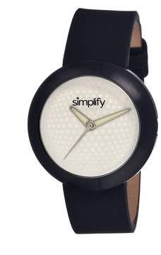 Simplify The 1200 White Dial Black Leather Unisex Watch