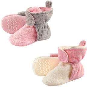 Hudson Baby Light Pink & Cream Fleece-Lined Bootie Set - Girls