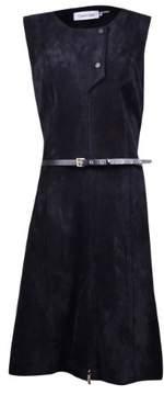 Calvin Klein Women's Belted Faux Suede Moto Dress (10, Black)