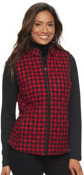 Croft & Barrow Women's Quilted Plaid Vest