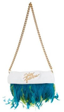 Dolce & Gabbana Feather-Trimmed Leather Bag - WHITE - STYLE