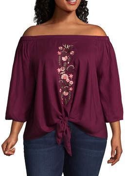 Boutique + + 3/4 Sleeve Embroidered Woven Blouse - Plus